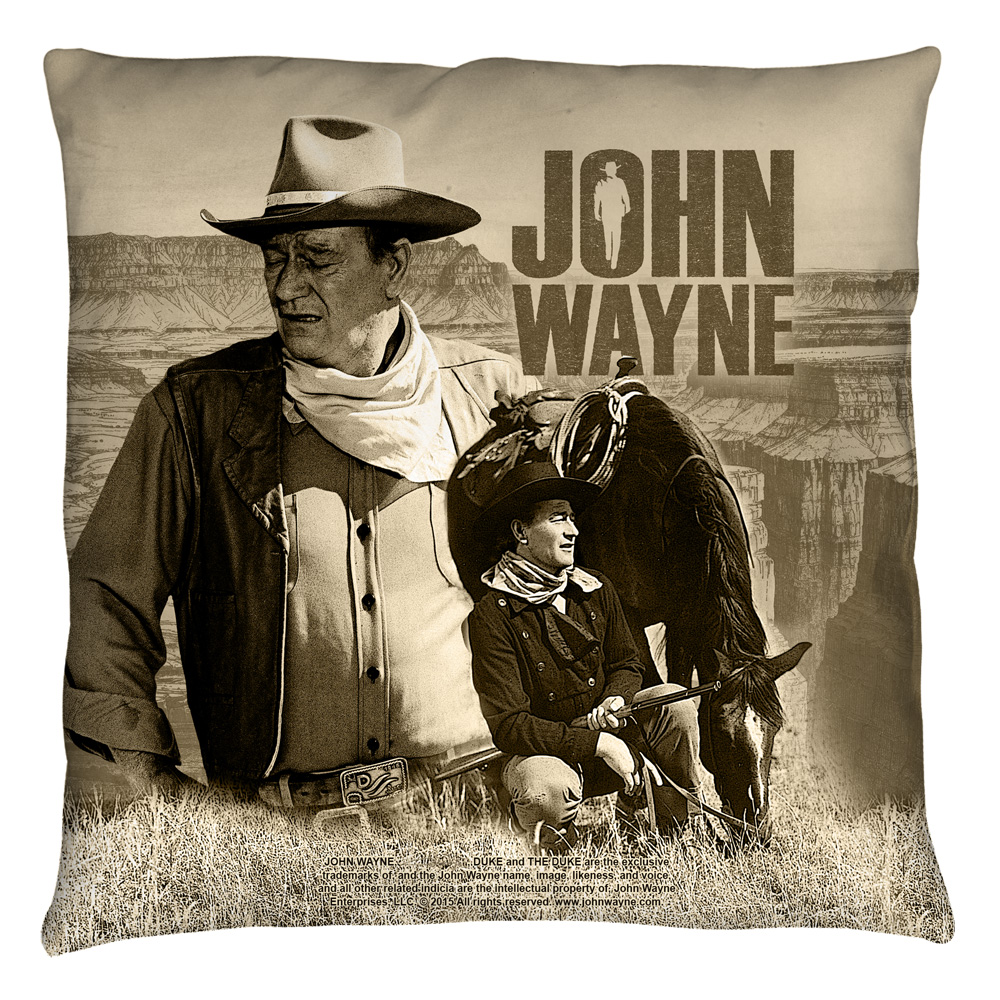 John Wayne Stoic Cowboy Throw Pillow White 20X20