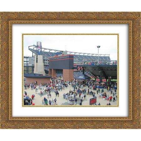 Gillette Stadium Framed - Gillette Stadium 2x Matted 24x20 Gold Ornate Framed Art Print from the Stadium Series