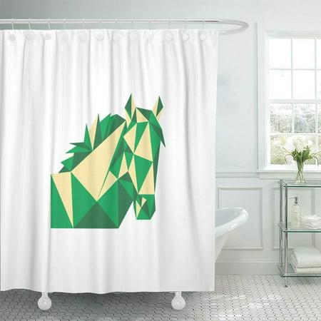 KSADK Low Green Horse Polygon Poly Symbol Triangle Abstract Animal Bull Emblem Shower Curtain 66x72 inch Double Bull Dark Horse