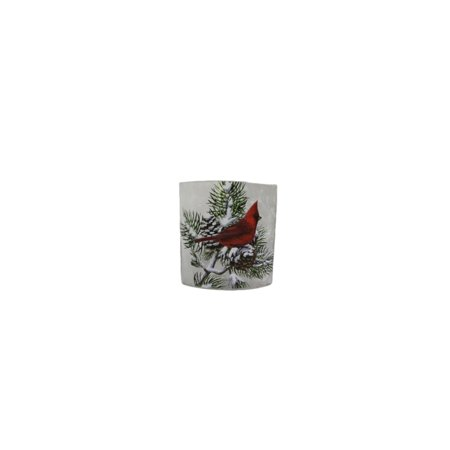 """Stony Creek - Frosted Glass - 7"""" Oval Lighted  Vase - Winter Snow Cardinals"""