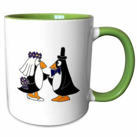 3dRose Funny Penguins Bride and Groom Wedding Cartoon - Two Tone Green Mug, 11-ounce