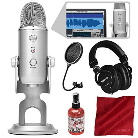 - Blue Microphones Yeti Studio USB Microphone All-In-One Professional Recording System for Vocals with Tascam Headphones and Deluxe Bundle