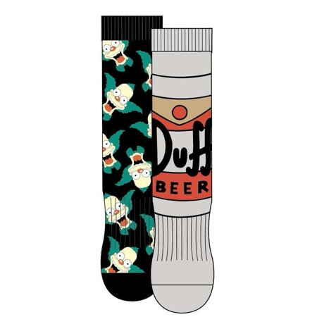 The Simpsons Krusty and Duff Beer Athletic Crew Socks 2 Pack ()