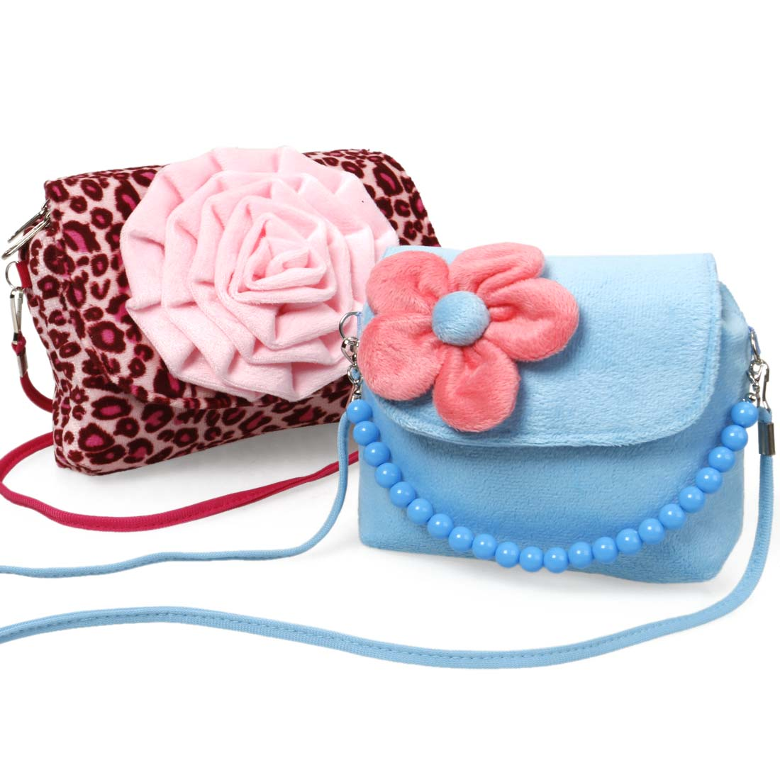 Bundle Monster Cute 2pc Little Girls Fashionable Fun Fuzzy Floral Handbag Set