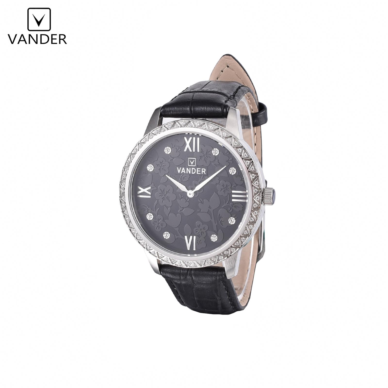 Vanderlife Men's Swiss RONDA Quartz Movement Watch, Black Leather Strap