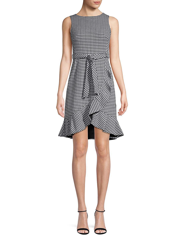 Petite Gingham Ruffled A-Line Dress