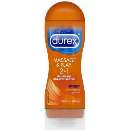 Durex Massage and Play 2-in-1 Massage Gel and Personal Lubricant, Intensify Guarana, 6.76 oz (Pack of 2)