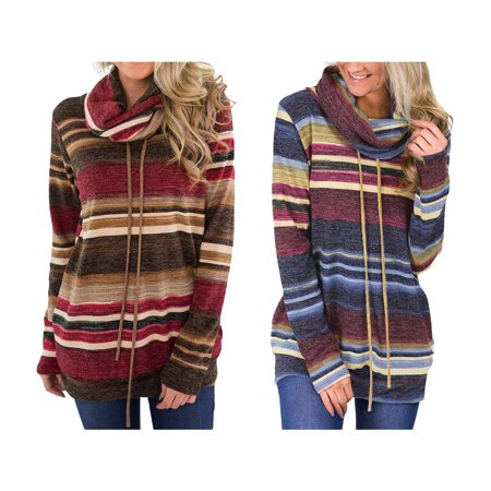 Women's Multicolor Stripes Hooding Cape Drawstring Casual Tunic Top Long Sleeve Cowl Neck Sweatshirt, Red, L