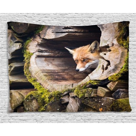 Animal Tapestry, Forest Nature Wild Fox with Hazel Eyes in a Wooden Carved Tree wth Moss Art Print, Wall Hanging for Bedroom Living Room Dorm Decor, 80W X 60L Inches, Multicolor, by Ambesonne ()