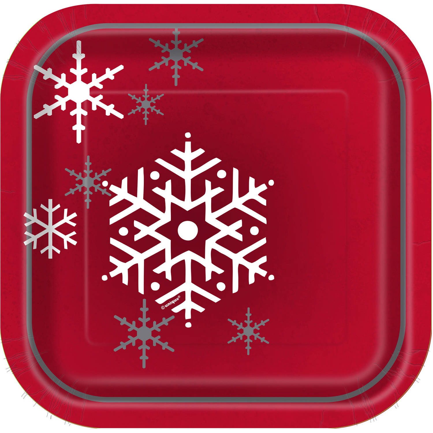 "7"" Square Sparkle Christmas Tree Paper Dessert Plates, 28ct"