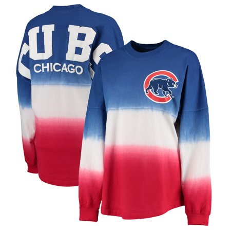 Chicago Cubs Women's Oversized Long Sleeve Ombre Spirit Jersey T-Shirt - Royal - Spirit Jersey Cheap
