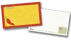 Recipe Cards with Protective Covers 3 x 5 Chili Pepper Includes