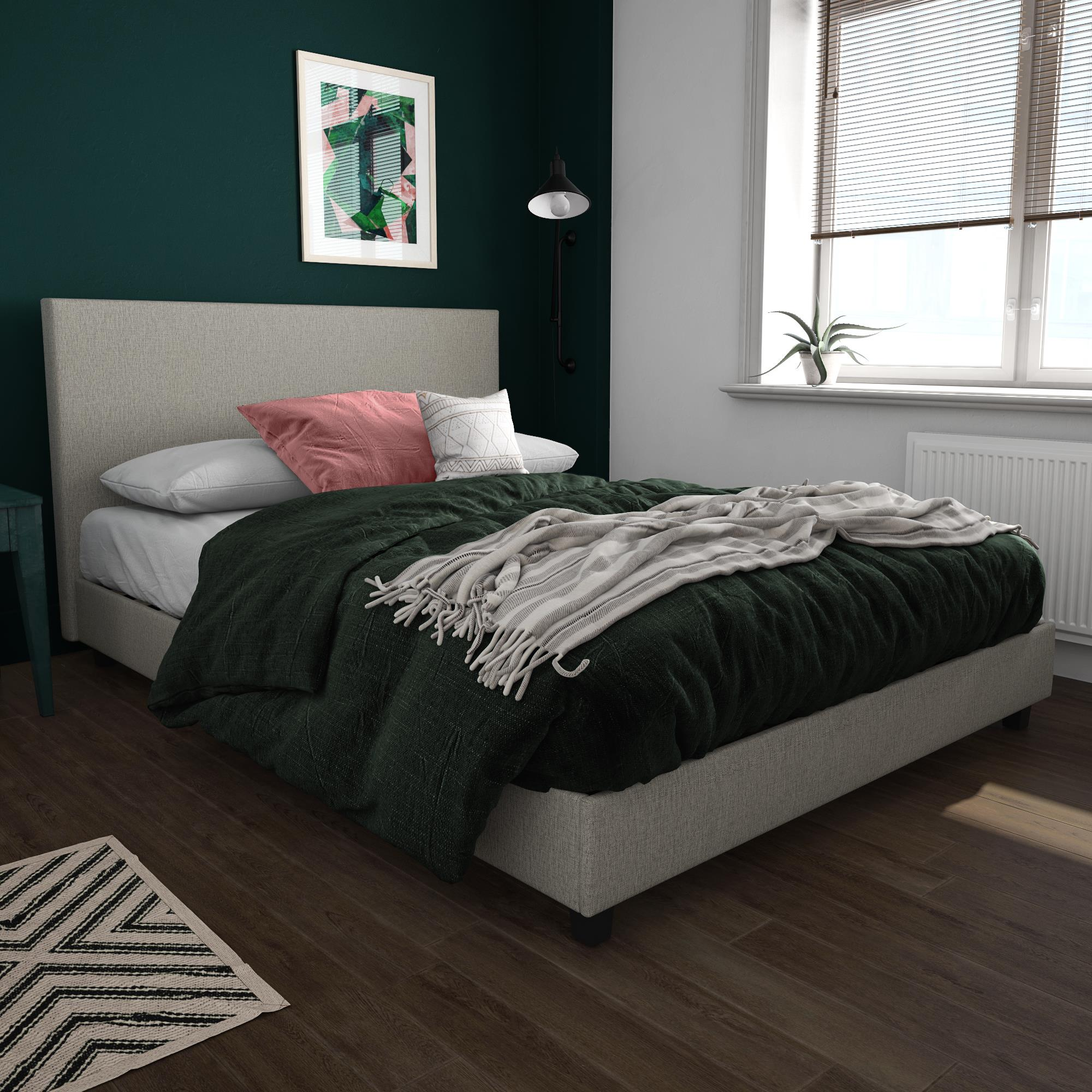 Mainstays Upholstered Bed, Multiple Sizes and Colors