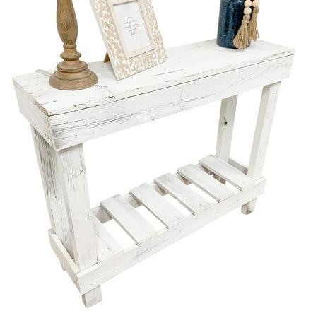 Del Hutson Designs White Reclaimed Wood Sofa Table