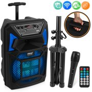 Pyle PPHP82SM - PA Speaker & Microphone System - Portable Karaoke Speaker with Wired Mic, Built-in LED Party Lights, Speaker Stand (8'' Subwoofer, 400 Watt MAX)
