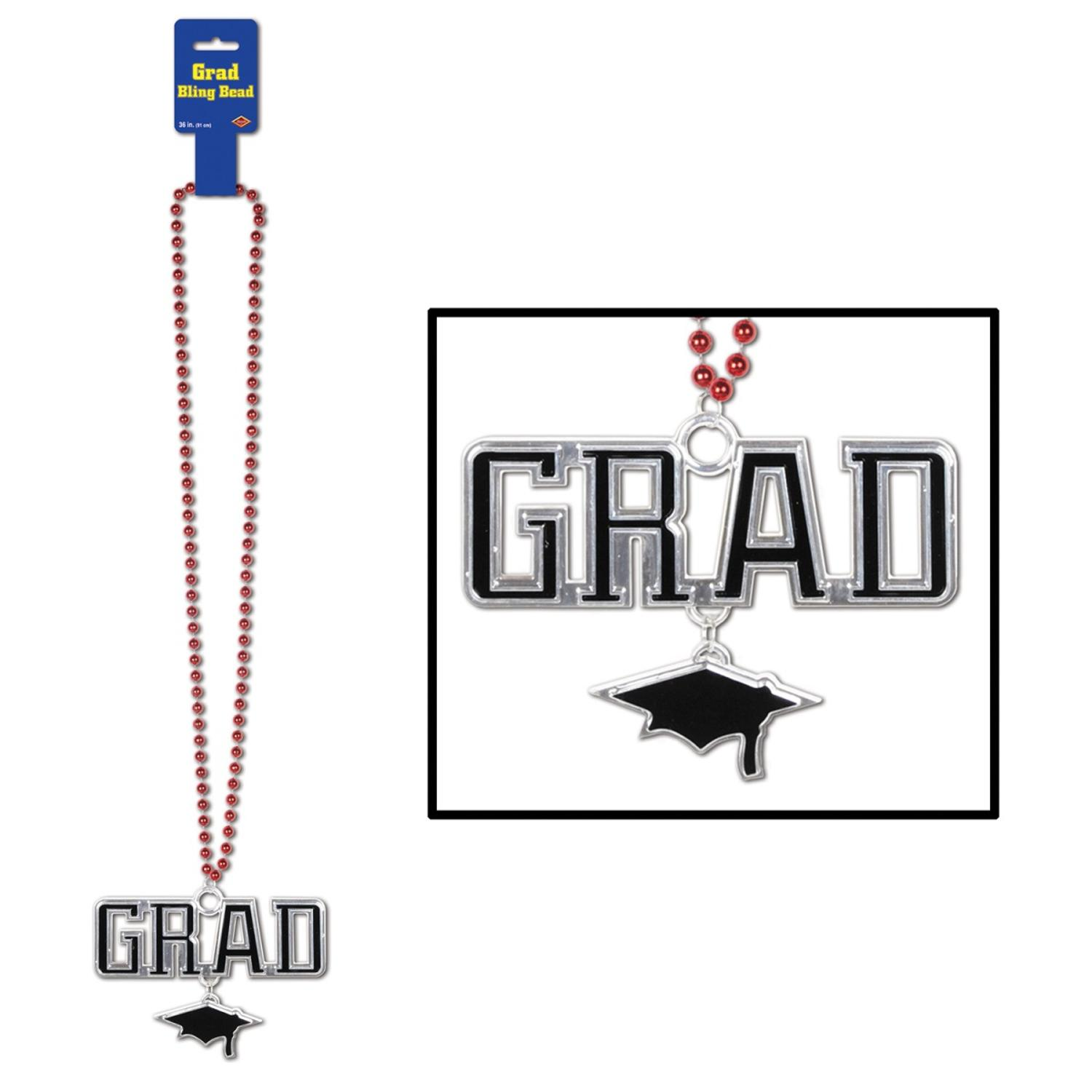 """Pack of 12 Metallic Red Beaded Necklace with """"GRAD"""" and Cap Medallion 36"""""""