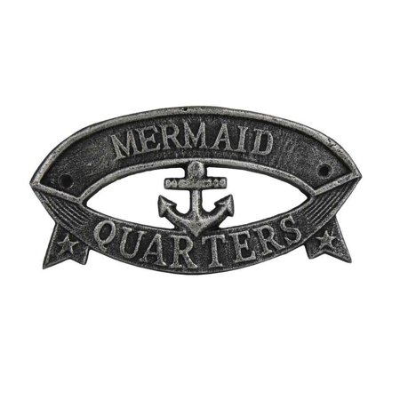 "Antique Silver Cast Iron Mermaid Quarters Sign 8""- Metal Wall Plaque - Cast Iron Door Sign - Decorative Metal Wall Art"