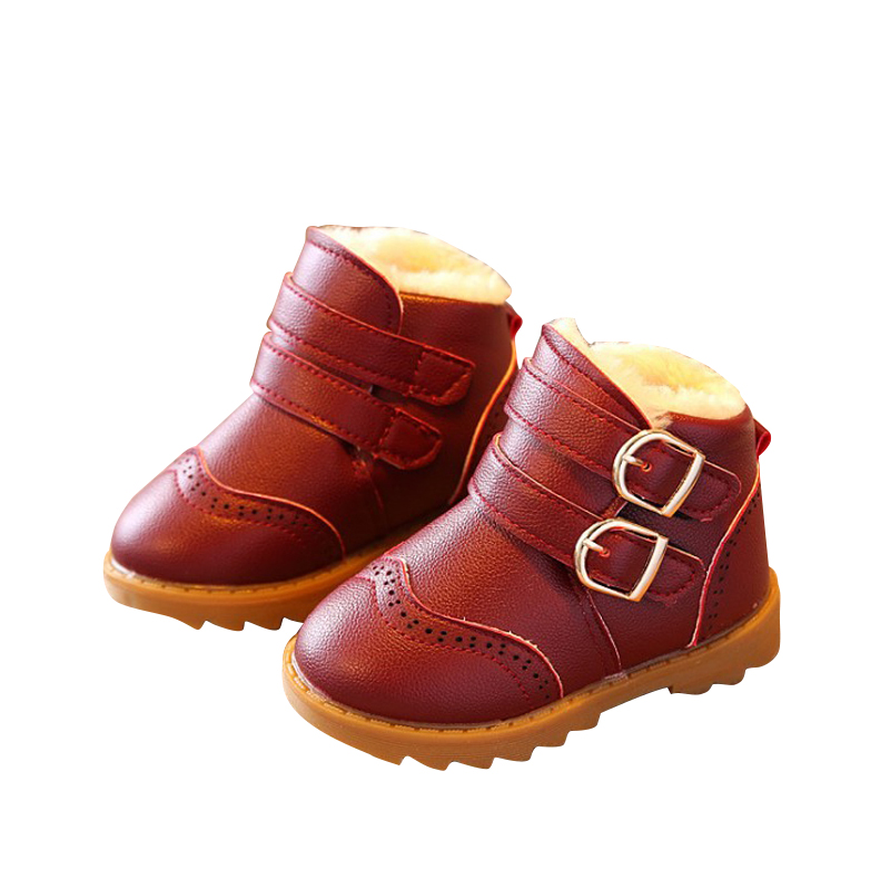 Baby Kids Winter Fur Double Buckle Straps Snow Boots