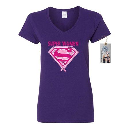Breast Cancer Awareness Superwoman Womens V Neck T-Shirt Top - Female Superwoman
