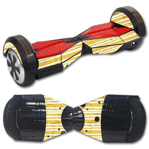Skin Decal Wrap for Balance Board Scooter Hover bluetooth Gold Stripes