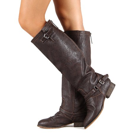 Breckelle Outlaw-11 New Women Leatherette Buckle Riding Knee High Brown Boot (9) (8)