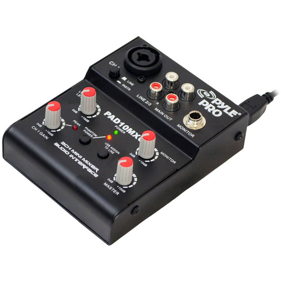 Pyle-Pro 2-Channel Mini Mixer with USB Audio Interface