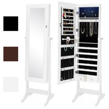 Best Choice Products 6-Tier Full Length Standing Mirrored Lockable Jewelry Storage Organizer Cabinet Armoire w/ 6 LED Interior Lights, 3  Angle Adjustments, Velvet Lining -