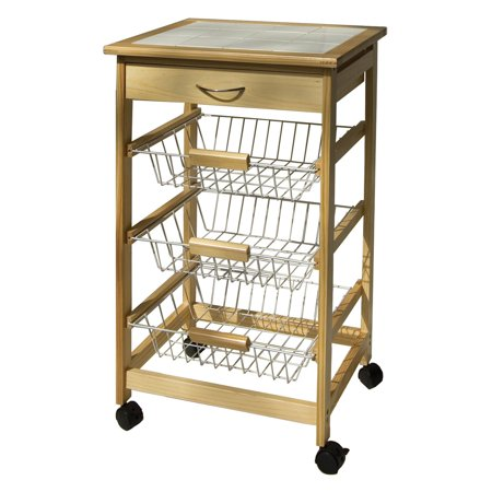 - Organize It All Kitchen Cart with 3 Baskets