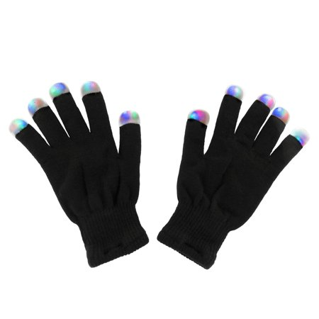 Black Knit Gloves LED Strobe Fingertips with 3 Colors for Light Shows, Party Favors (1 Pair) by Super Z Outlet