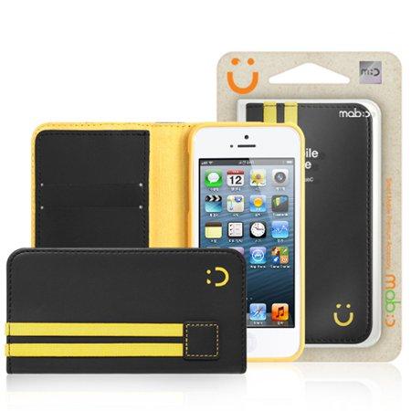 Made for Black / Yellow Apple iPhone 5 / 5S Sporty Book Wallet Case *FREE Screen Protector! Premium [PU/Faux Leather] with ID Credit Card Slots; Fashion Slim Wallet Case Cover by