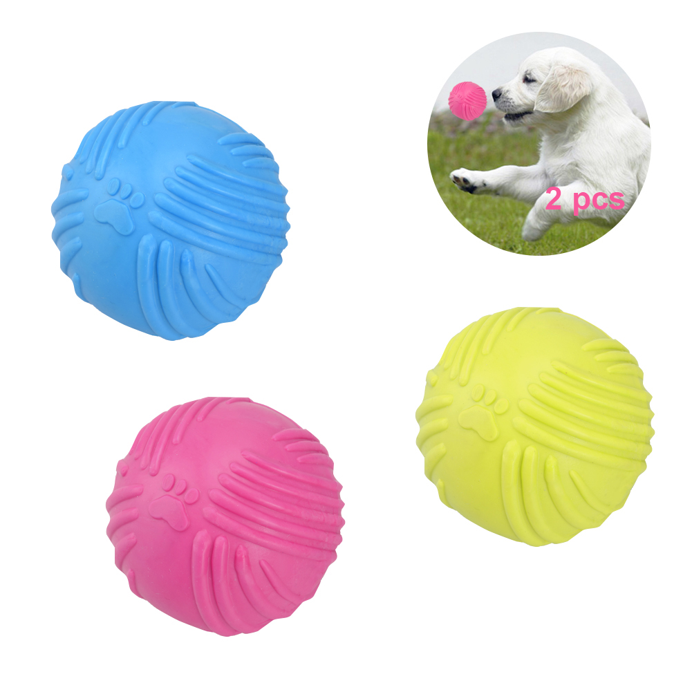 Petacc Bite Resistant Pet Ball Puppy Chew Toys IQ Training Pet Ball Soft Rubber Bouncy Ball Pet Teeth Cleaning Toy, Set of 2