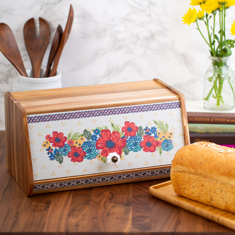 The Pioneer Woman Floral Acacia Wood Bread Box Walmartcom