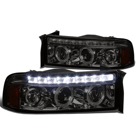For 1994 to 2001 Dodge Ram LED DRL Strip Dual Halo Ring Projector Headlight Smoked Housing Amber Corner Headlamp 95 96 97 98 99 00 1500 2500 3500 ()