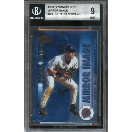 1999 bowman's best mirror image #m3 ALFONSO SORIANO rookie card w/JETER BGS -