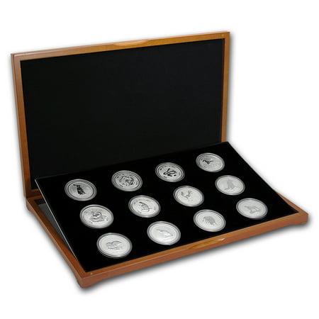 1999-2010 Australia 12-Coin 1 oz Silver Lunar Set (SI, Wood Box) for $<!---->