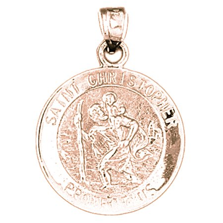Rose Gold Plated 925 Sterling Silver 35Mm Saint Christopher Coin Charm Pendant  Approx  4 76 Grams