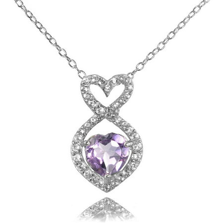 Amethyst and White Topaz Sterling Silver Infinity Heart Necklace - Heart Shaped Amethyst Necklace