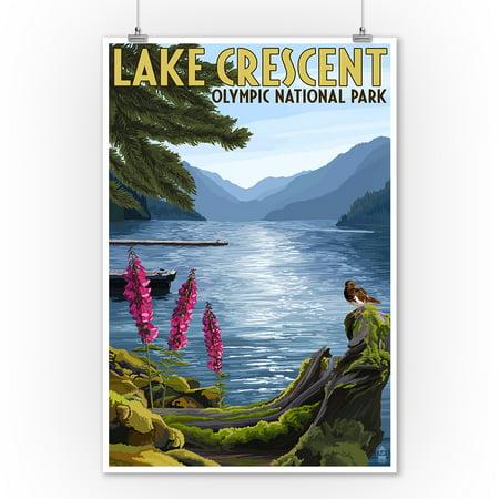Olympic National Park, Washington - Lake Crescent - Lantern Press Artwork (9x12 Art Print, Wall Decor Travel Poster) ()