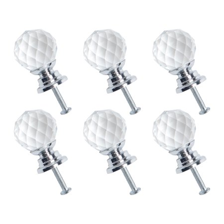 20mm Dia Crystal Knobs Dresser Door Knobs Pull Handle for Home Office Furniture Cupboard Decorative Silver Color 6pcs ()