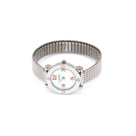 Kids Childrens Silver Orange Stainless Stretch Easy Read Water Resistant Watch ()