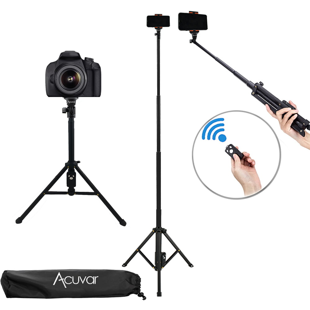 for iPhone /& Android Phones//GoPro//DSLR Cameras Lightweight Aluminum Travel Camera Tripod Extendable Phone Tripod Stand with Rechargeable Remote QR Plate and Carry Bag 54 inch Phone Tripod