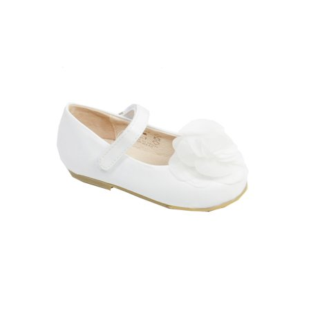 Pazitos Girls White Silk Rose Hook-And-Loop Mary Jane Shoes