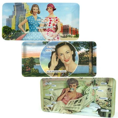 - Anne Taintor 3 Pack Serving Trays Set Rectangular Plastic Vanity Perfume Food Platter