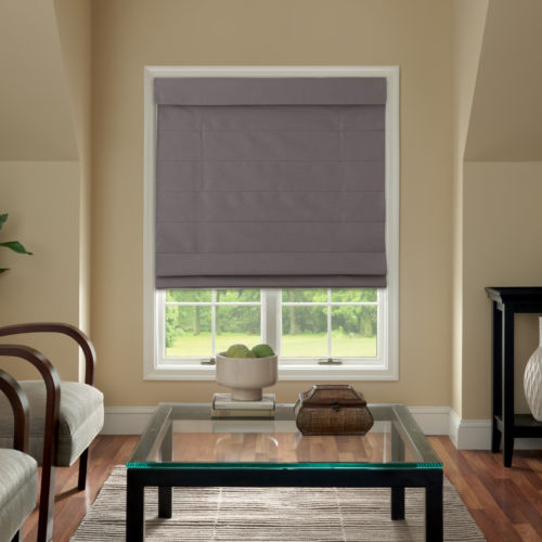 Cordless Fabric Roman Shade Dark Gray 39x64 Walmart Com