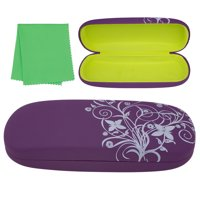 Hard Eyeglass Case, Floral Designed Protective Clamshell Holder for Glasses and Sunglasses, with Microfibre Cleaning Cloth - Purple - by OptiPlix