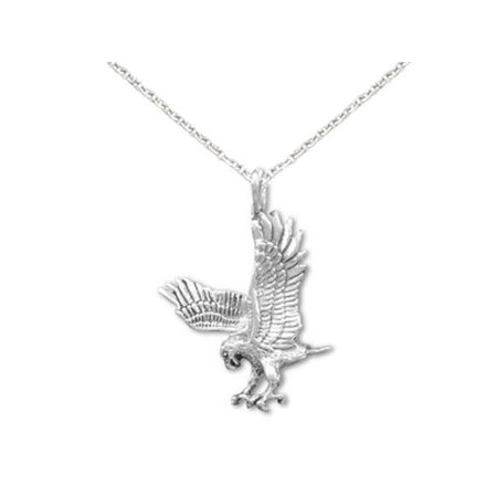 Eagles Sterling Silver Eagles (Landing Eagle Necklace Antiqued Sterling Silver - Made in the USA,)