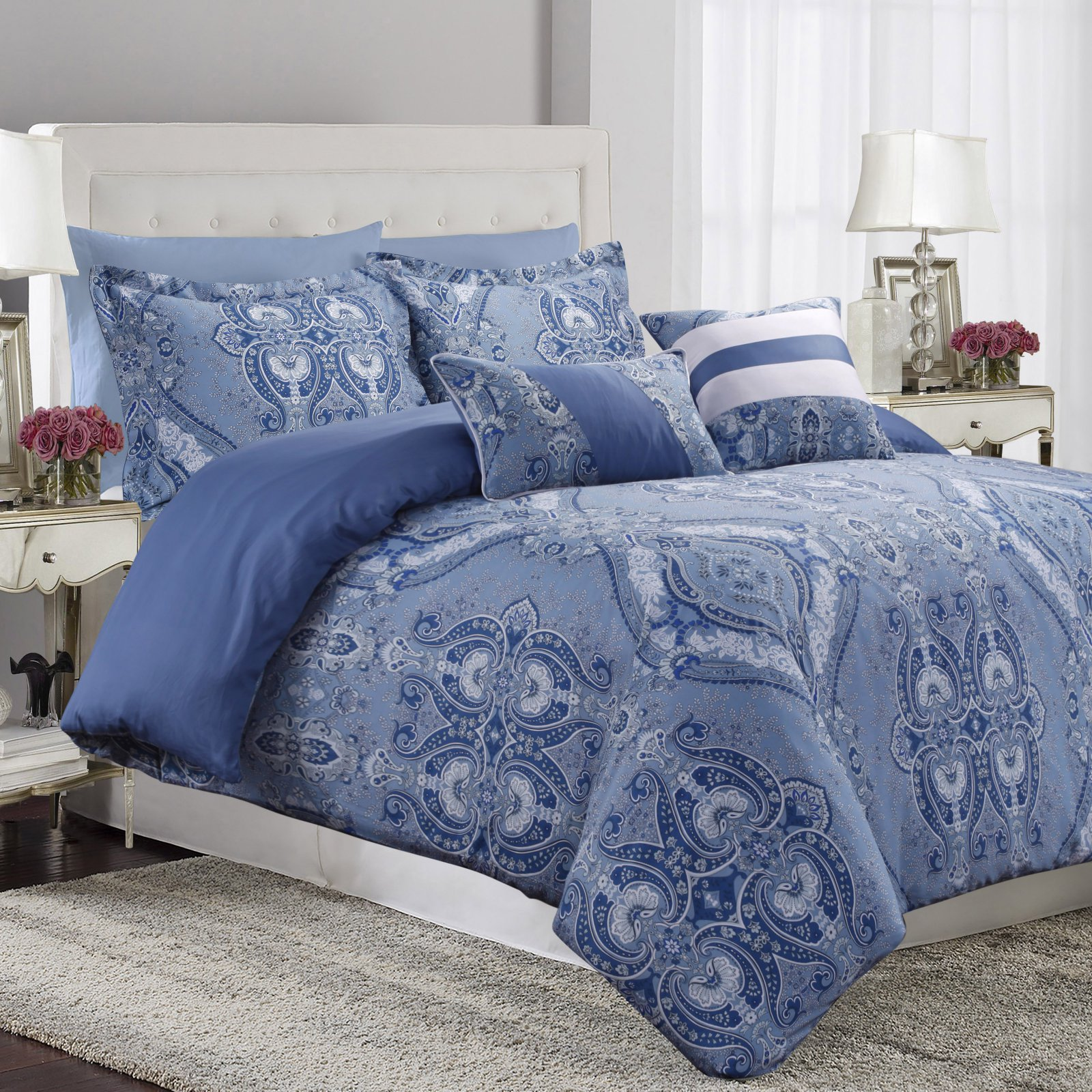 Tribeca Living Atlantis 300TC Egyptian Cotton Sateen 5-Piece Duvet Set