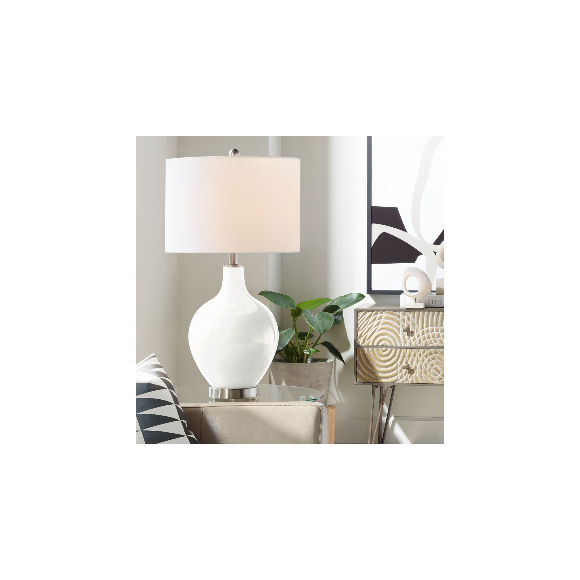 Color Plus Modern Table Lamp Winter White Glass Ovo Linen ...