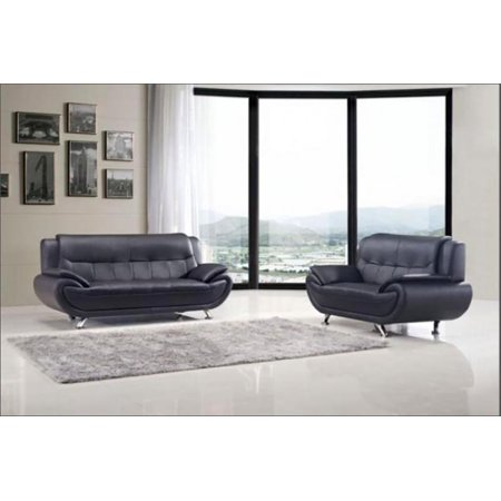 Groovy Maxwest C108 Bk Modern Black Genuine Leather Sofa And Loveseat Set 2Pcs Unemploymentrelief Wooden Chair Designs For Living Room Unemploymentrelieforg