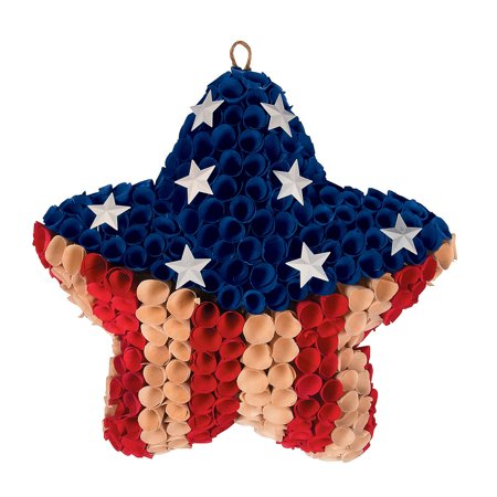 Fun Express - Patriotic Star Pod Wreath for Fourth of July - Home Decor - Floral - Wreaths - Fourth of July - 1 Piece - July 4th Wreaths